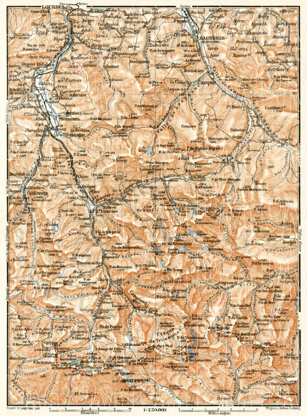 St. Sauveur, Barèges and Gavarnie map, 1902. Use the zooming tool to explore in higher level of detail. Obtain as a quality print or high resolution image