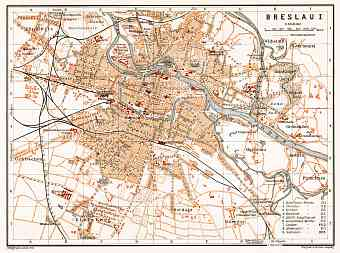 Breslau (Wrocław) city map, 1906