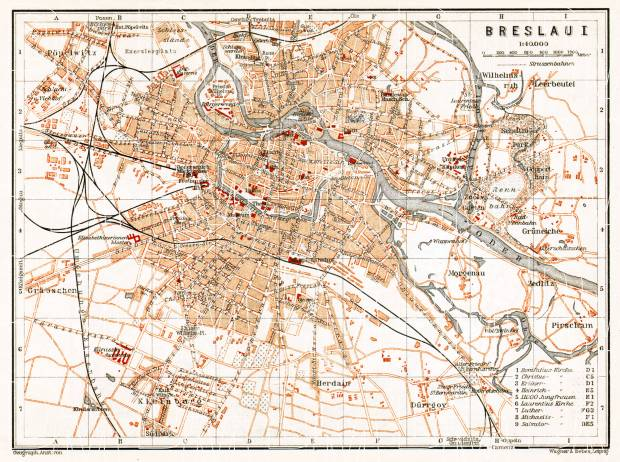 Breslau (Wrocław) city map, 1906. Use the zooming tool to explore in higher level of detail. Obtain as a quality print or high resolution image