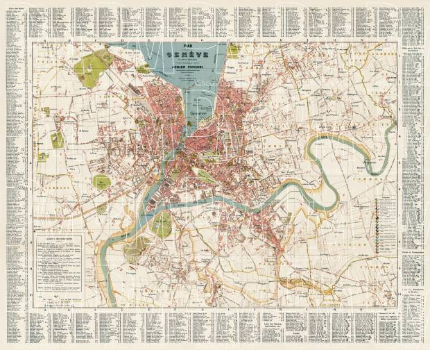 Old map of Geneva and close suburbs in 1921 Buy vintage map replica