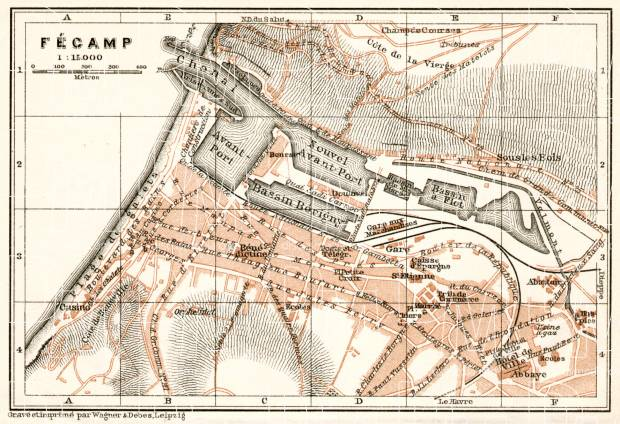 Fécamp city map, 1909. Use the zooming tool to explore in higher level of detail. Obtain as a quality print or high resolution image