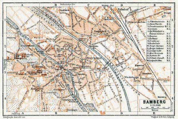 Bamberg city map, 1906. Use the zooming tool to explore in higher level of detail. Obtain as a quality print or high resolution image