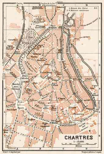 Chartres city map, 1909