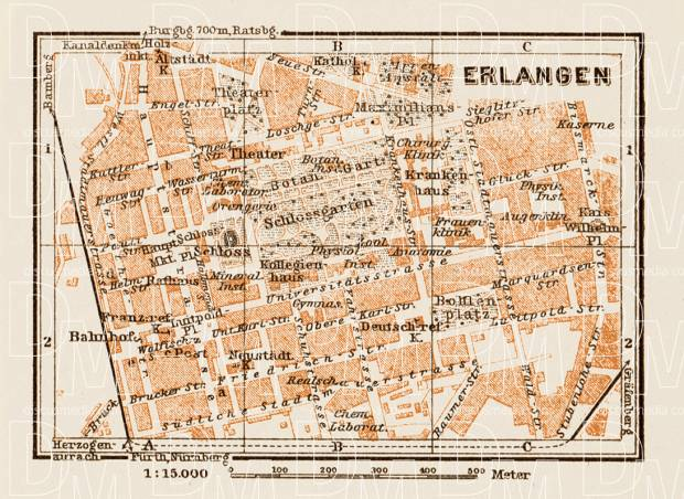 Old map of Erlangen in 1909 Buy vintage map replica poster print or