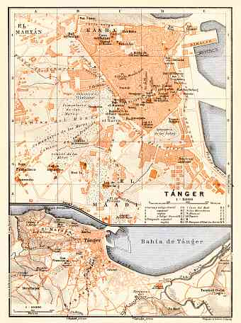 Tánger (طنجة, Tangier) city map, 1929. Environs of Tánger