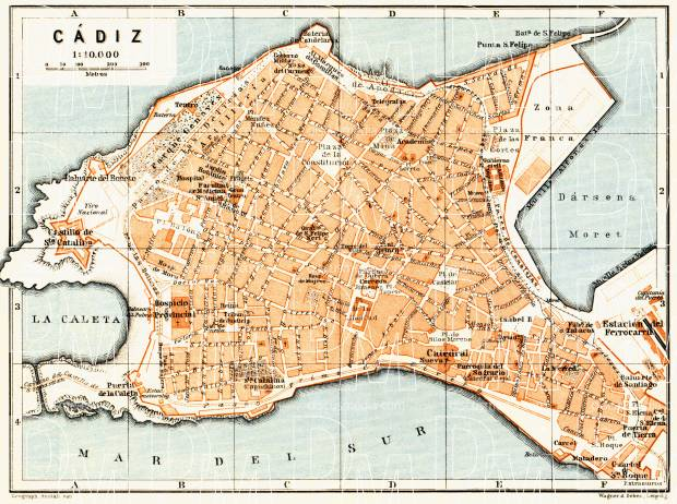 Cádiz city map, 1929. Use the zooming tool to explore in higher level of detail. Obtain as a quality print or high resolution image