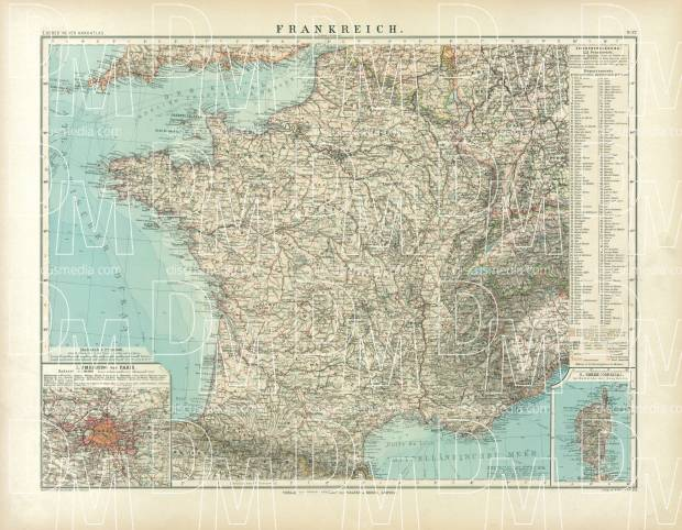 France Map, 1905. Use the zooming tool to explore in higher level of detail. Obtain as a quality print or high resolution image