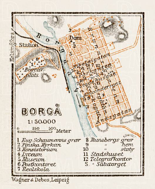 Borgå (Porvoo) town plan, 1929. Use the zooming tool to explore in higher level of detail. Obtain as a quality print or high resolution image