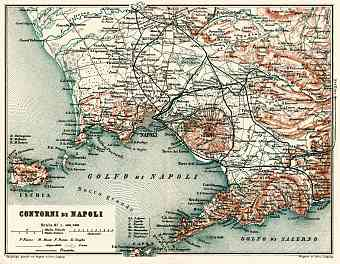Naples (Napoli) and farther environs map, 1898
