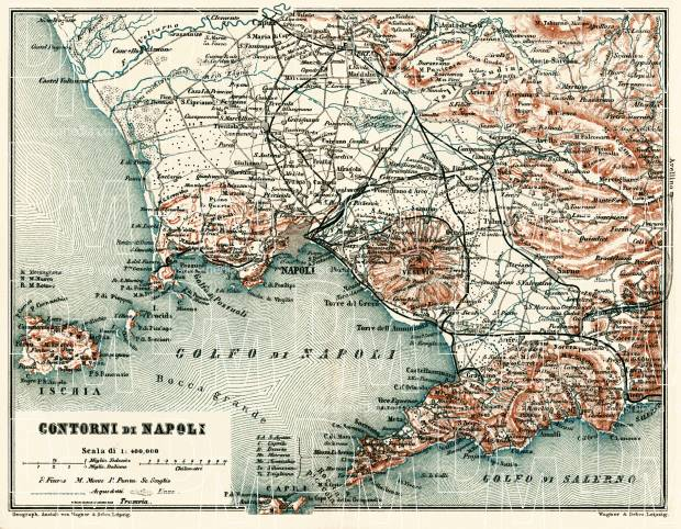 Naples (Napoli) and farther environs map, 1898. Use the zooming tool to explore in higher level of detail. Obtain as a quality print or high resolution image