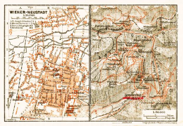 Wiener-Neustadt town plan, 1911. Use the zooming tool to explore in higher level of detail. Obtain as a quality print or high resolution image