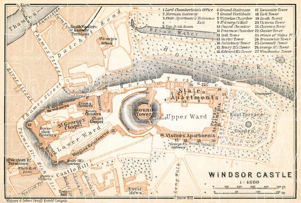 Windsor Castle map, 1909. Use the zooming tool to explore in higher level of detail. Obtain as a quality print or high resolution image