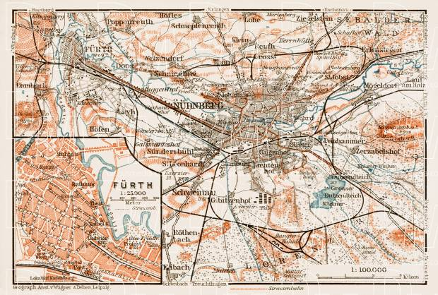 Map of the environs of Nürnberg (Nuremberg). Fürth city map, 1909. Use the zooming tool to explore in higher level of detail. Obtain as a quality print or high resolution image