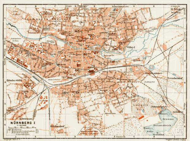 Nürnberg (Nuremberg) city map, 1909. Use the zooming tool to explore in higher level of detail. Obtain as a quality print or high resolution image