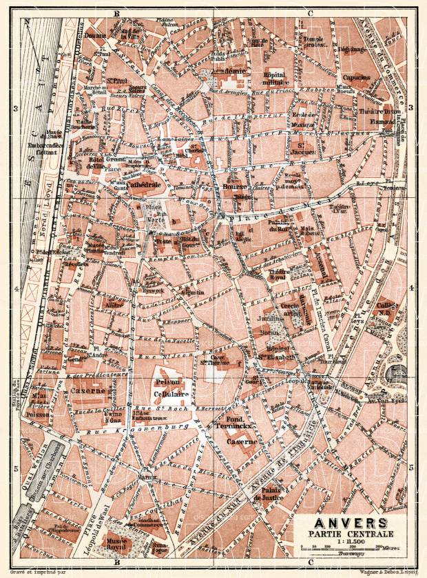 Antwerp (Antwerpen, Anvers), city centre map, 1904. Use the zooming tool to explore in higher level of detail. Obtain as a quality print or high resolution image