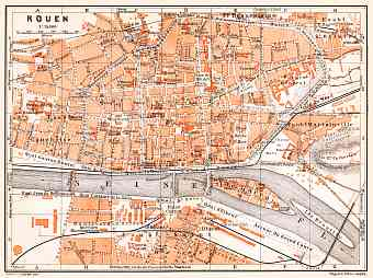 Rouen city map, 1910