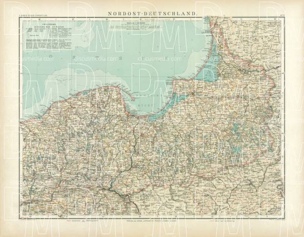 Northeastern Germany Map, 1905. Use the zooming tool to explore in higher level of detail. Obtain as a quality print or high resolution image