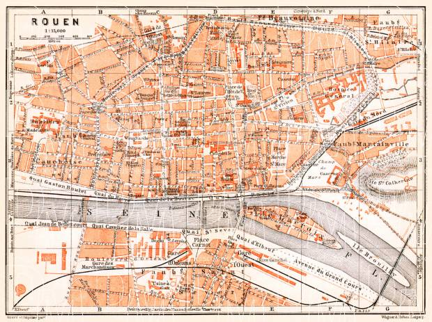 Old map of Rouen in 1910. Buy vintage map replica poster print or ...