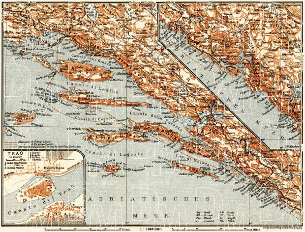 Dalmatian coast from Marina (Bossoglina) to Bari (Antivari) district map. Traù (Trogir) town plan, 1911. Use the zooming tool to explore in higher level of detail. Obtain as a quality print or high resolution image