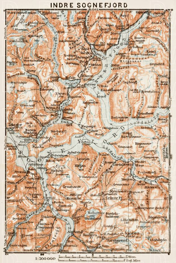Indre Sognefjord district map, 1931. Use the zooming tool to explore in higher level of detail. Obtain as a quality print or high resolution image