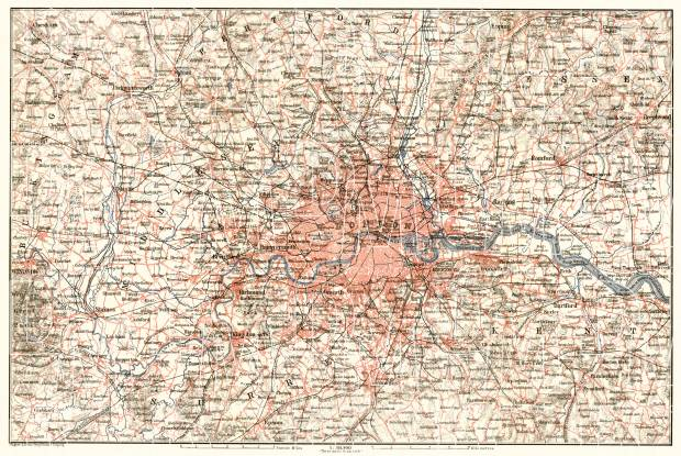 London And Greater London Map.Greater London Environs Of London 1906