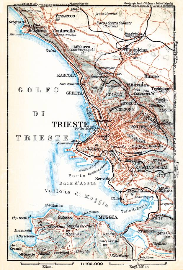 Triest (Trieste) environs map, 1929. Use the zooming tool to explore in higher level of detail. Obtain as a quality print or high resolution image