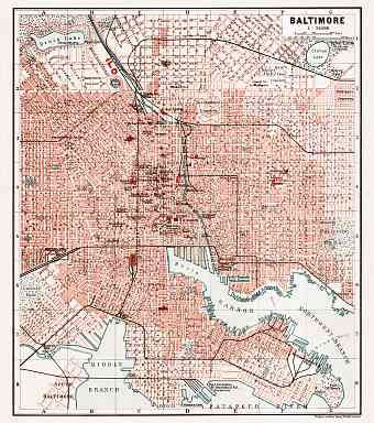 Baltimore city map, 1909