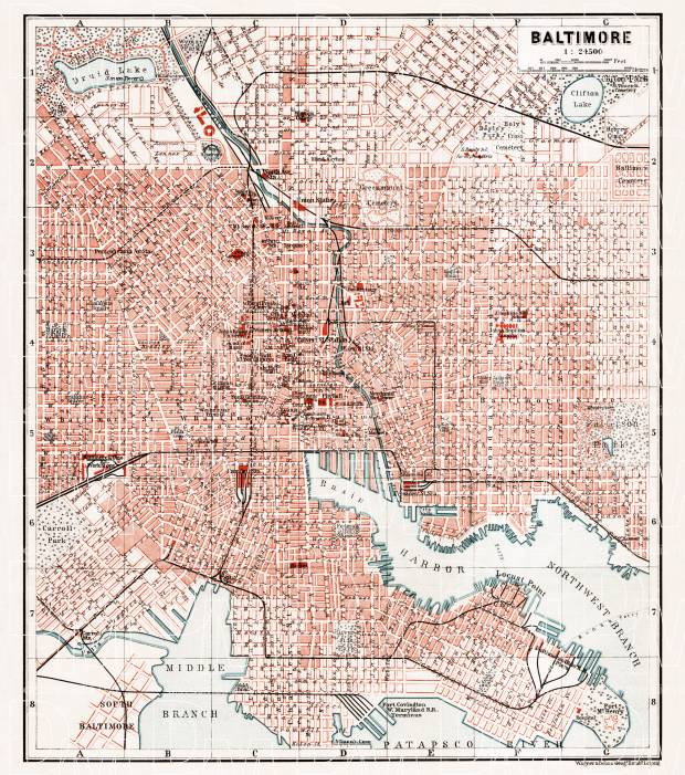 Baltimore city map, 1909. Use the zooming tool to explore in higher level of detail. Obtain as a quality print or high resolution image