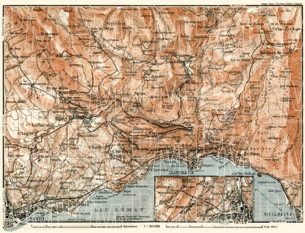 Old map of Montreux and Vevey vicinities in 1913 Buy vintage map