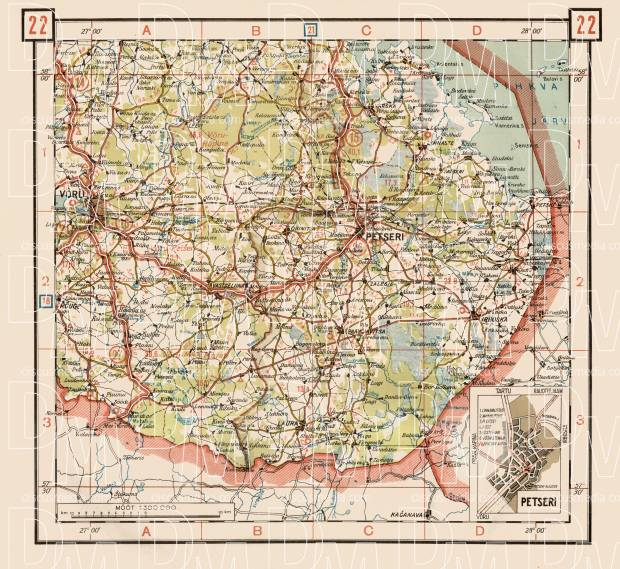 Old map of the southeast Estonia between Vru Petseri and Irboska