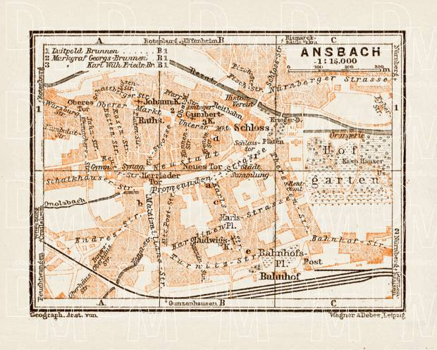 Katterbach Germany Map.Old Map Of Ansbach In 1909 Buy Vintage Map Replica Poster Print Or