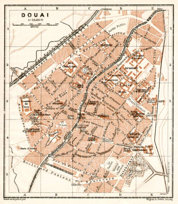 Douai city map, 1909. Use the zooming tool to explore in higher level of detail. Obtain as a quality print or high resolution image