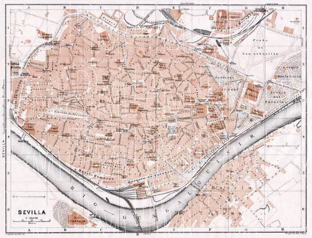 Old map of Seville (Sevilla) in 1911. Buy vintage map replica poster ...