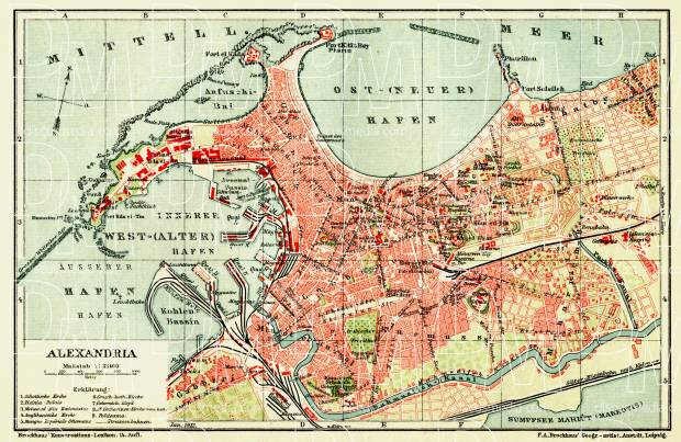 Alexandria (الإسكندرية) city map, 1912. Use the zooming tool to explore in higher level of detail. Obtain as a quality print or high resolution image