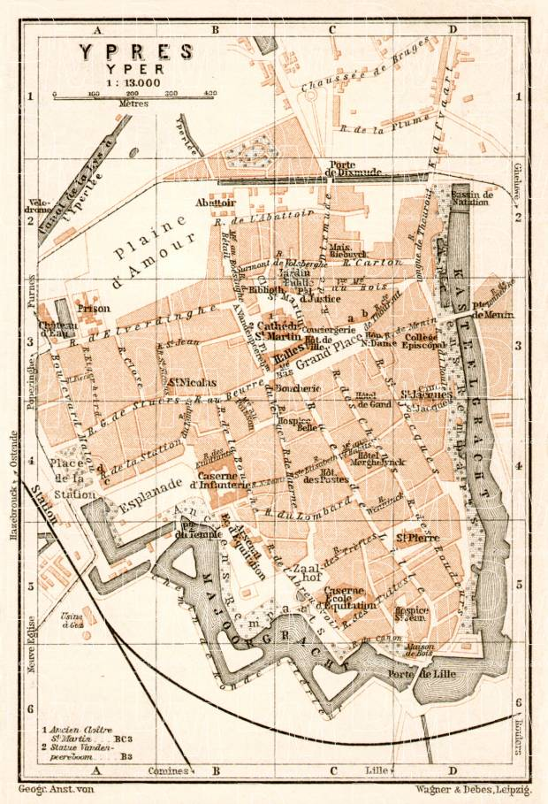 Ypres city map, 1909. Use the zooming tool to explore in higher level of detail. Obtain as a quality print or high resolution image