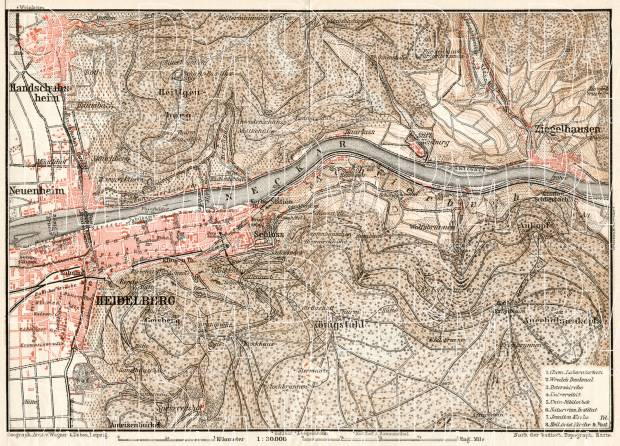 Heidelberg and environs map, 1906. Use the zooming tool to explore in higher level of detail. Obtain as a quality print or high resolution image