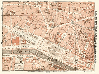 Central Paris districts map: Champs-Élysées, Louvre and Grands Boulevards, 1903