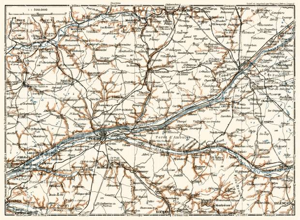 Châteaux de la Loire district map, 1913. Use the zooming tool to explore in higher level of detail. Obtain as a quality print or high resolution image