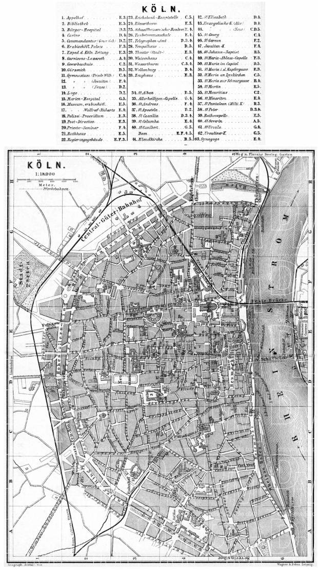 Cologne (Köln) city map, 1887. Use the zooming tool to explore in higher level of detail. Obtain as a quality print or high resolution image