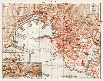 Historical map prints of Genoa Genova in Italy for sale and