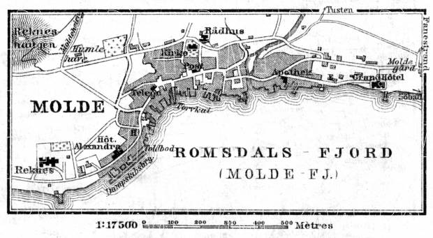 Molde town plan, 1910. Use the zooming tool to explore in higher level of detail. Obtain as a quality print or high resolution image