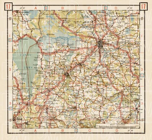 Old map of the middle Estonia around Tartu in 1938 Buy vintage map