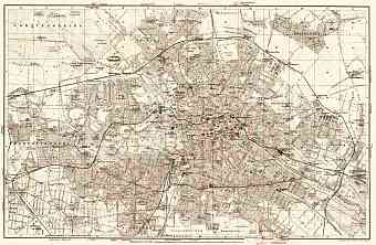 Berlin, city map with tramway and S-Bahn networks, 1906
