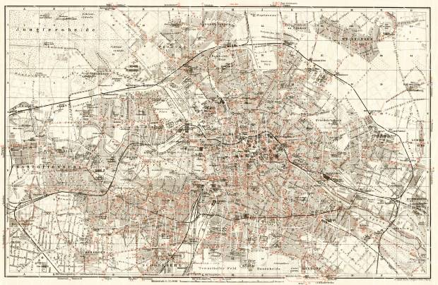 Berlin, city map with tramway and S-Bahn networks, 1906. Use the zooming tool to explore in higher level of detail. Obtain as a quality print or high resolution image