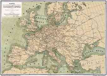 Europe. Railways and waterways map (in Russian), 1903