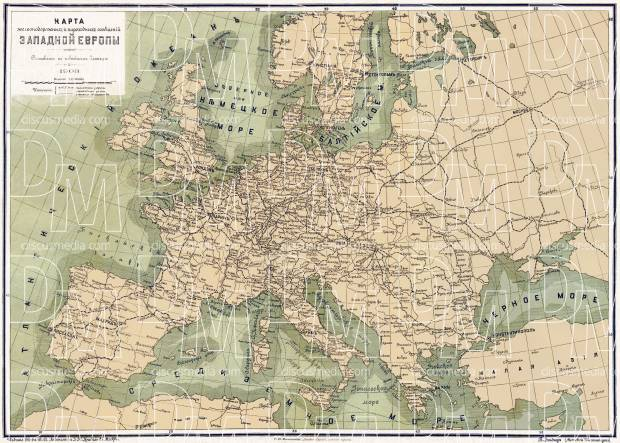 Europe. Railways and waterways map (in Russian), 1903. Use the zooming tool to explore in higher level of detail. Obtain as a quality print or high resolution image