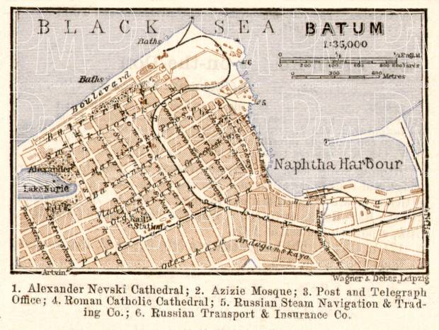 Batum (ბათუმი, Batumi) town plan, 1914. Use the zooming tool to explore in higher level of detail. Obtain as a quality print or high resolution image