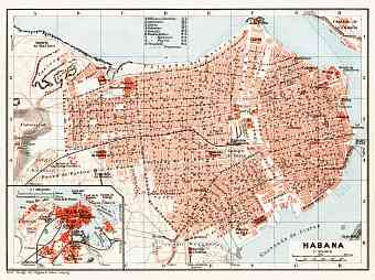 Havana (Habana), city map. Map of the Environs of Havana (Habana), 1909