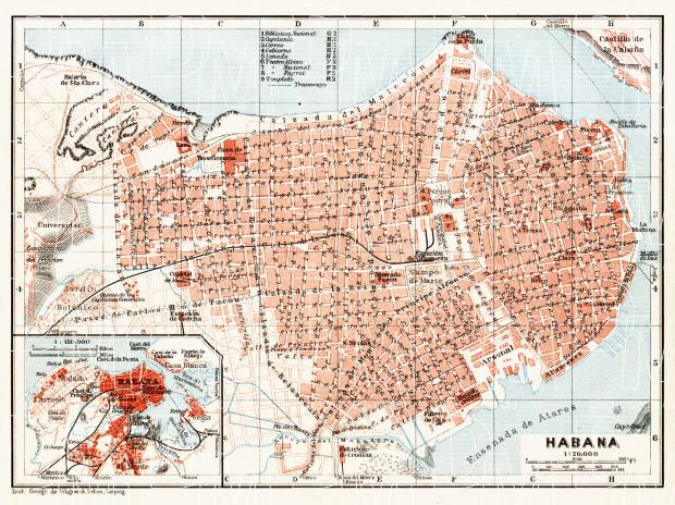 graphic about Printable Map of Havana called Havana (Habana), town map. Map of the Environs of Havana (Habana), 1909