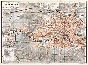 Elberfeld (now part of Wuppertal) city map, 1906
